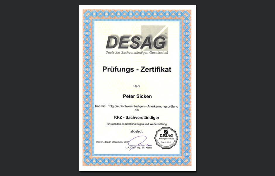 Zertifikat Kfz-Sachverständiger DESAG