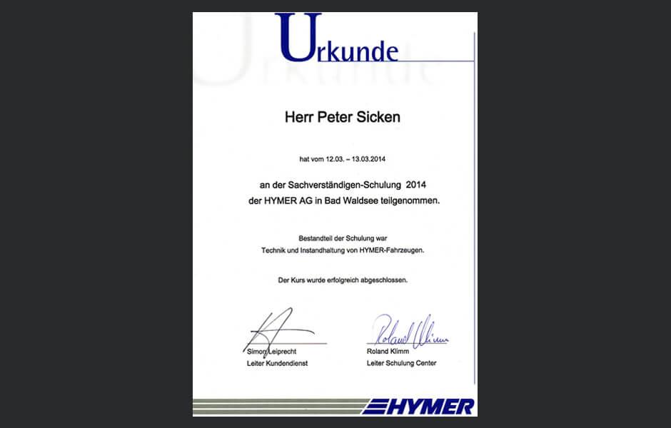 Kfz-Sachverständiger - Schulung HYMER AG