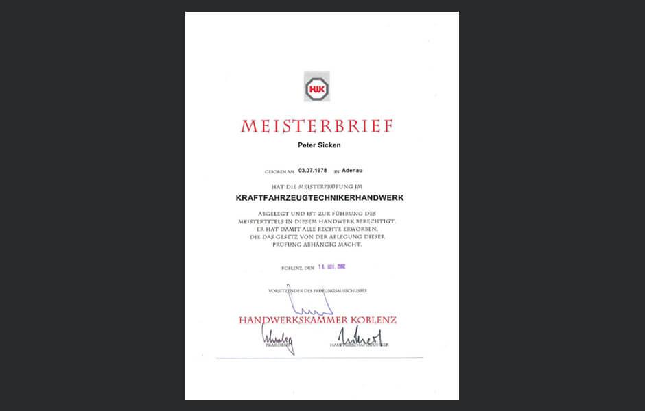Meisterbrief Kfz-Fahrzeugtechniker